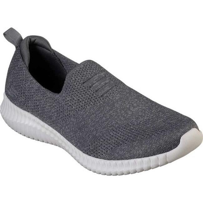 hommes Skechers Elite Flex Flat Knit Slip On Charcoal