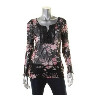 Denim & Supply Ralph Lauren Womens Casual Top Floral Print Long Sleeve