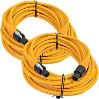 SEISMIC AUDIO Pair of 12 Gauge 50' Orange Speakon to Speakon Speaker Cables