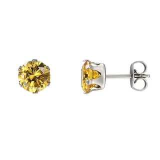 3mm Stainless Steel Earrings Yellow Solitaire Studs Cubic Zirconia Mens Ladies CZ