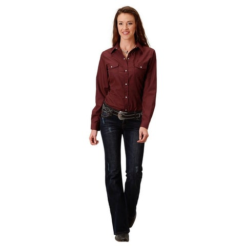 Roper Western Shirt Womens Long Sleeve Solid Wine