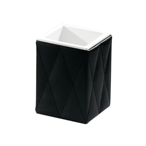 Nameeks 5998 Gedy Free Standing Tooth Brush Holder - Black Leather. Opens flyout.