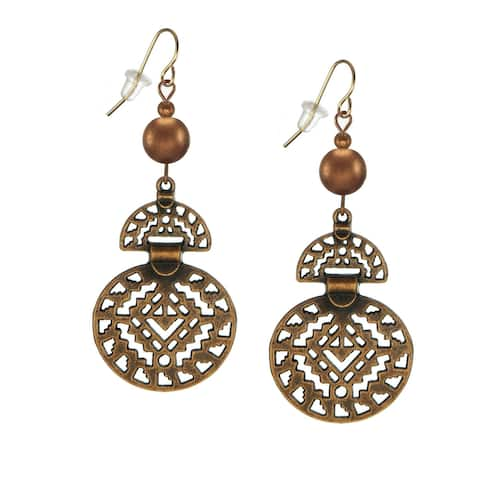Handmade Jewelry by Dawn Boho Style Copper Drops with Bead Earrings - Color Choices