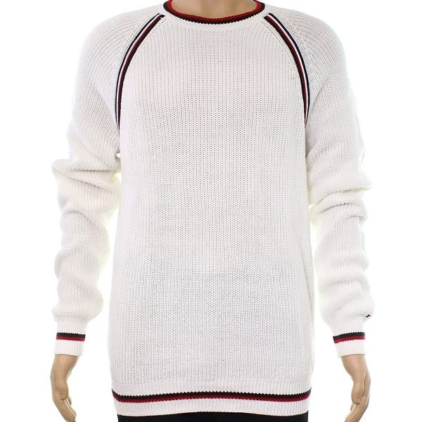 b3d3f7dd113b82 Shop Tommy Hilfiger Snow White Mens Size Large L Crewneck Sweater - Free  Shipping Today - Overstock - 22515547