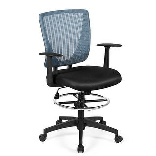 Gymax Mesh Drafting Chair Mid Back Office Chair Adjustable Height with Footrest Ring