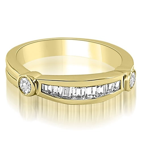 0.60 cttw. 14K Yellow Gold Channel Baguette and Round Diamond Wedding Band