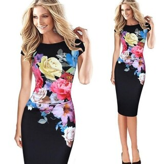 Fashion Floral Printed Slim Pinup Party Office Sheath Body Con Dress