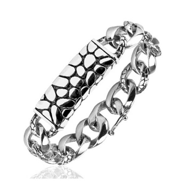 "Stainless Steel Turtle Shell Texture/Black ""ID Bracelet"" Texture Links (14.5 mm) - 8.75 in"