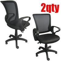 2xhome Set of 2 Modern Mesh Ergonomic Design Executive Computer Office Desk Task Chairs With Arms Back Wheels Swivel Adjustable