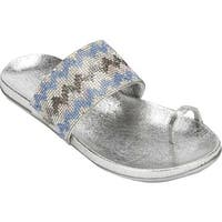 Kenneth Cole Reaction Women's Slim Tricks Toe Loop Sandal Silver Multi Metallic