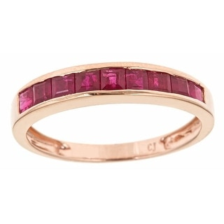 Link to Anika and August 10k Rose Gold Square-cut Thai Rubiy Classic Band Ring Similar Items in Rings