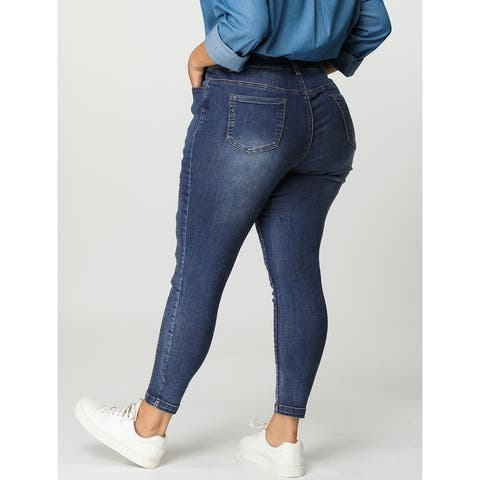 Women's Plus Size Mid Rise Stretch Washed Skinny Jeans