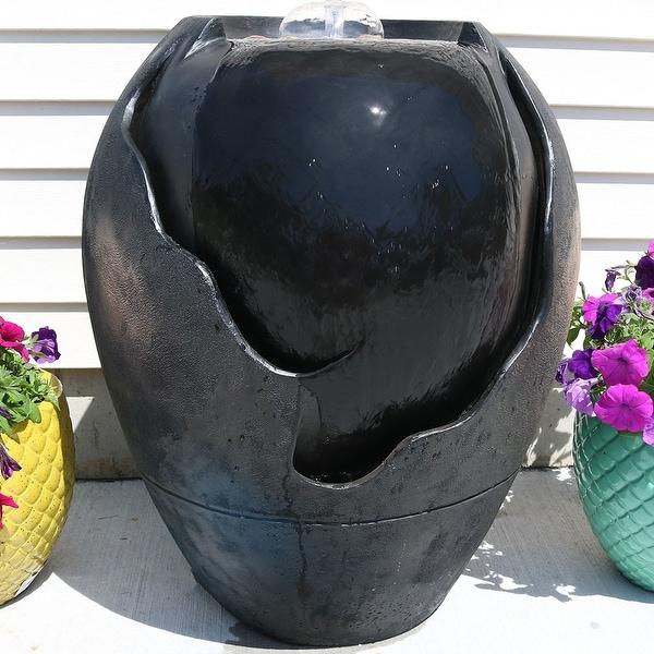 Sunnydaze Electric Raku Basin Outdoor Garden Water Fountain Feature - 28-Inch