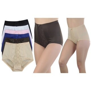 6 Pack of Women's High Waisted Control Briefs in Regular and Plus Sizes