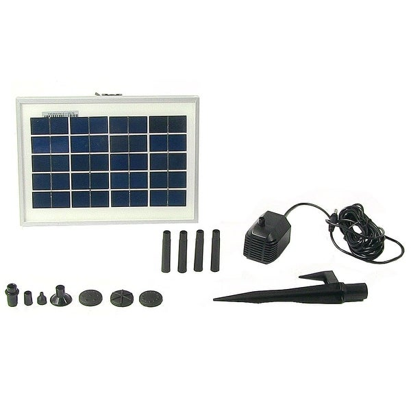 Sunnydaze Solar Water Pump and Panel Bird Bath Fountain Kit with 6 Spray Heads,