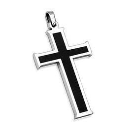 Stainless Steel Pendant. Black Cross (32 mm Width)