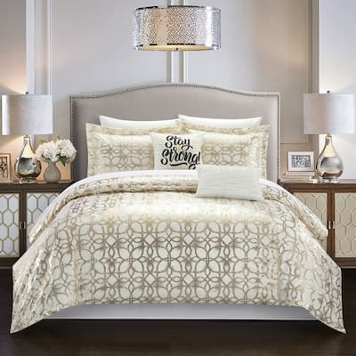 Chic Home Shea 9 Piece Metallic Pattern Bed in a Bag Comforter Set