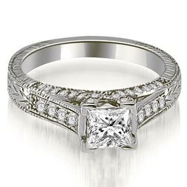 0.90 cttw. 14K White Gold Antique Princess Cut Diamond Engagement Ring
