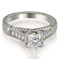 0.90 cttw. 14K White Gold Antique Princess Cut Diamond Engagement Ring