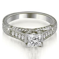 1.40 cttw. 14K White Gold Antique Princess Cut Diamond Engagement Ring