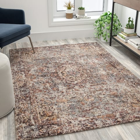 Multicolor Distressed Artisan Old English Style Traditional Rug