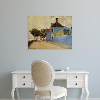 Easy Art Prints Claude Monet's 'The blue house in Zaandam' Premium Canvas Art