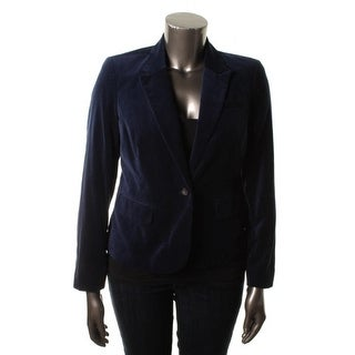 Tommy Hilfiger Womens Velvet Long Sleeves One-Button Blazer - 10