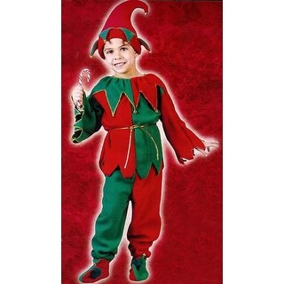 Red and Green 6-Piece Children's Plush Christmas Elf Costume - Size Large (12-14)