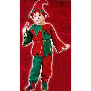 6-Piece Children's Plush Christmas Elf Costume - Size Small (4-6)