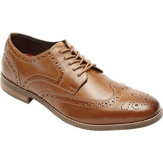 Rockport Men's Style Purpose Wing Tip Oxford Tan Full Grain Leather