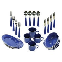 Stansport 24-Piece Enamel Camping Tableware Set 11220