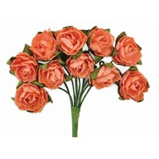 "Coral - Mini Paper Blooms .5"" Flowers W/Wire Stems 10/Pkg"
