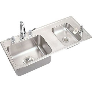 "Elkay DRKAD371760RC 37-1/4"" Double Basin Drop-In Stainless Steel Utility Sink with High-Arc Kitchen Faucet - Includes Bubbler,"