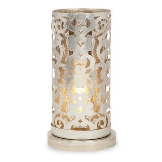 14 Loughlin Sophisticated Iron Pillar Candle Hurricane Table Lamp Silver Overstock 16608289