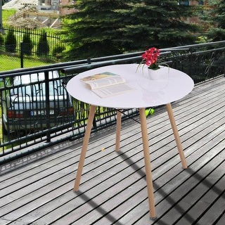 Costway White Modern Round Table Tea Coffee Dining Living Room Furniture Home Decor