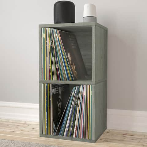 Way Basics 2-Shelf Cube Book Case, Vinyl LP Record Album Storage, Grey