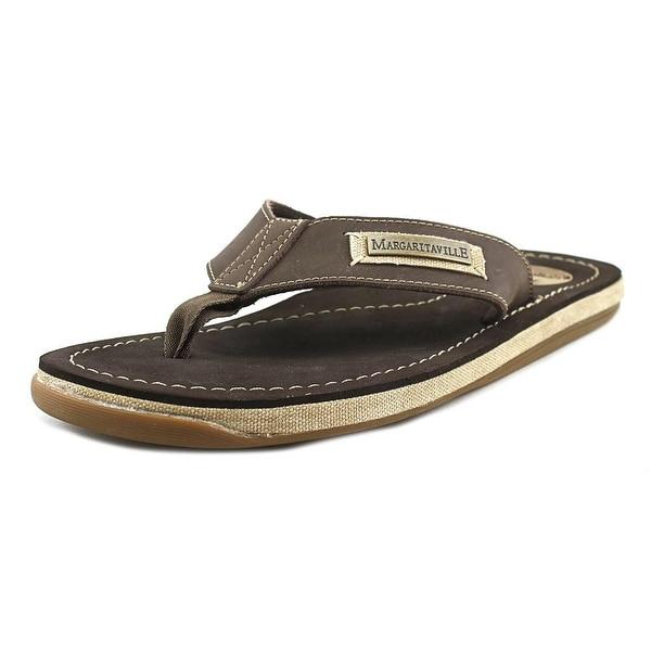 Margaritaville Quicksand Men Open Toe Leather Brown Flip Flop Sandal