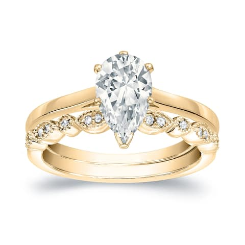 Auriya 14k Gold 1ctw Vintage Pear Shape Solitaire Diamond Engagement Ring Set