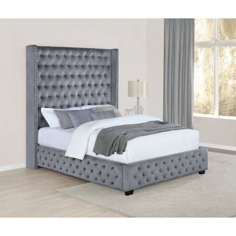 Priscilla Grey Wingback Tufted Upholstered Bed
