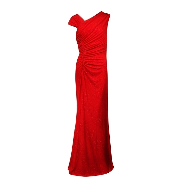 Shop Calvin Klein Women\'s Glittered Asymmetrical Ruched Jersey Gown ...