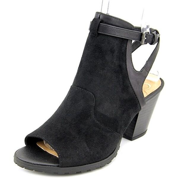 Madeline Western Women Open-Toe Synthetic Black Ankle Boot