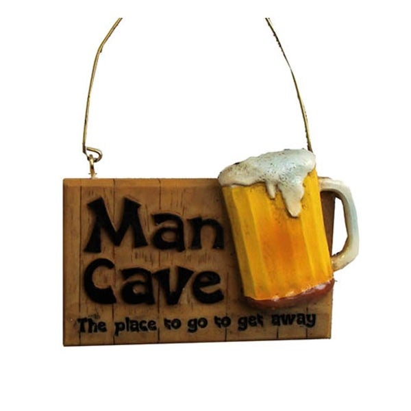 "3.5"" Man Cave The Place To Go Get Away Beer Plaque Christmas Ornament"