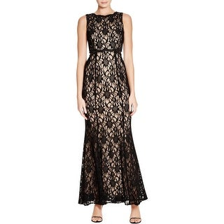 Aqua Womens Evening Dress Lace Overlay Sleeveless
