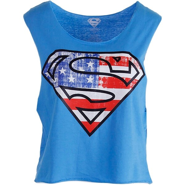 Superman Womens Juniors Casual Top Cotton Graphic