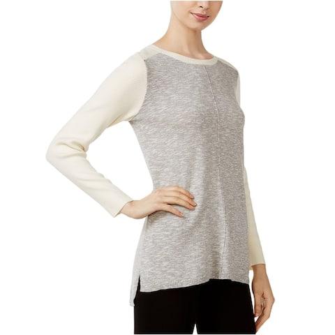 Kensie Womens Hi-Lo Colorblocked Knit Sweater