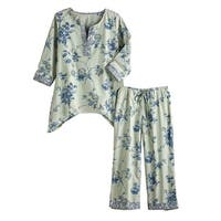 Women's Serene Garden Floral Print Pajamas - Sleep Shirt and Pants Set