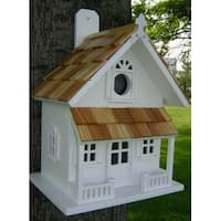 Fully Functional White Rustic English Cottage Outdoor Garden Birdhouse