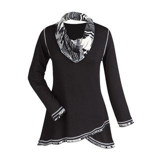 Women's Tunic Top - Midnight Black And White Cowl Neck Shirt