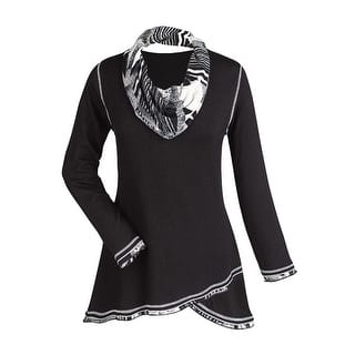 Women's Tunic Top - Midnight Black and White Cowl Neck Shirt (Option: 1x)|https://ak1.ostkcdn.com/images/products/is/images/direct/79f26040230fc33e66e3f759c82e85811384f80e/Women%27s-Tunic-Top---Midnight-Black-And-White-Cowl-Neck-Shirt.jpg?impolicy=medium