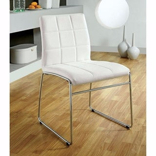 Contemporary Side Chair With Steel Tube, White Finish, Set Of 2
